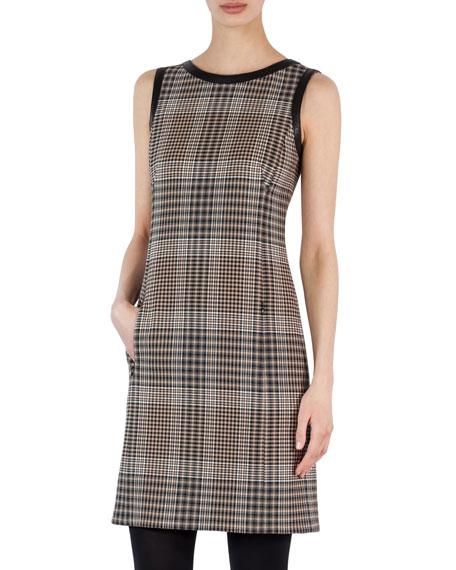 Sleeveless Leather-Trim Plaid Dress