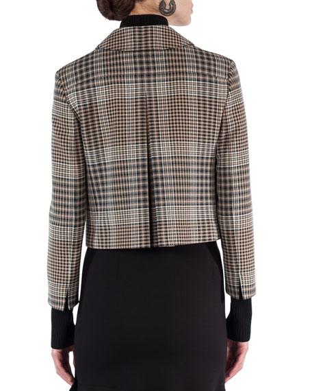Glen Plaid Zip-Front Jacket