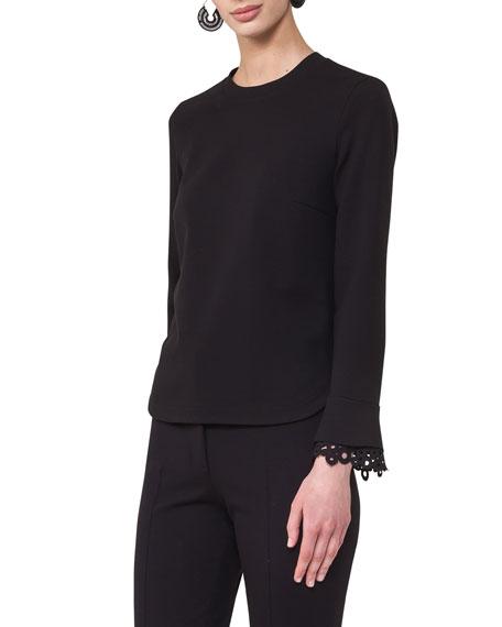 Round-Neck Lace-Cuff Sweatshirt