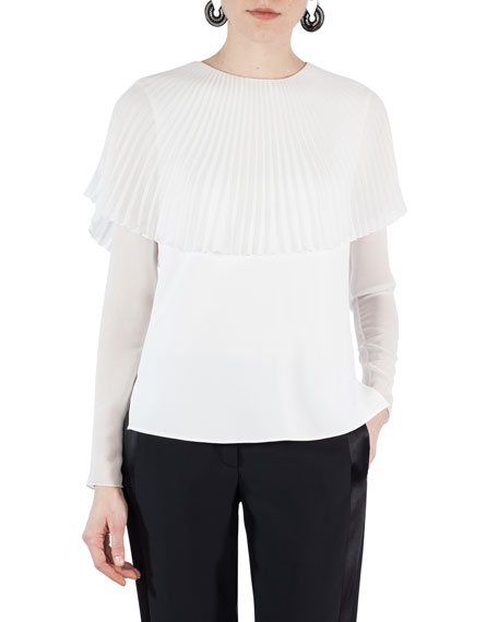 Pleated Sunray Capelet Blouse