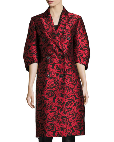 Rose Jacquard Ruched-Sleeve Double-Breasted Coat, Red/Black