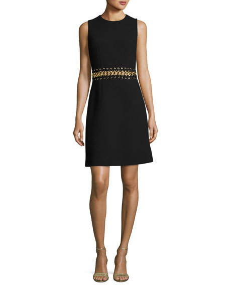Michael Kors Collection Chain-Inset Sleeveless Minidress, Black