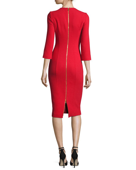 Boucle Crepe 3/4-Sleeve Sheath Dress, Crimson