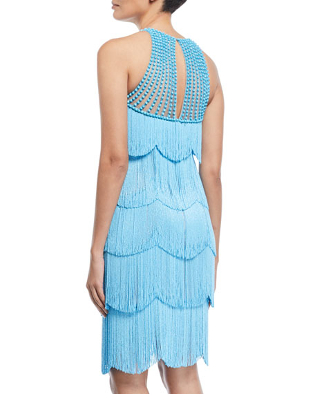 Beaded Fringe Sleeveless Cocktail Dress