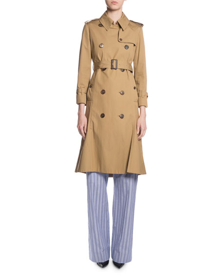 Balenciaga Double-Breasted Kick-Pleat Trench Coat