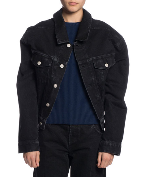 Oversized Denim Jacket, Dark Blue