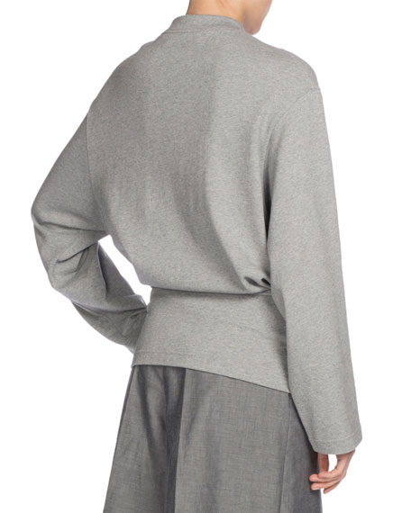 Mock-Neck Tie-Front Sweatshirt, Gray