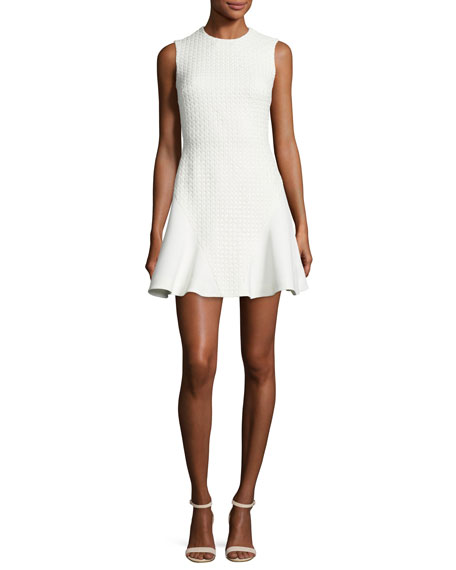 David Koma Lace-Back Fit-and-Flare Dress, White