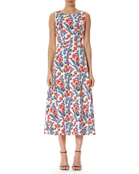 Poppy Sleeveless Silk Midi Dress, White