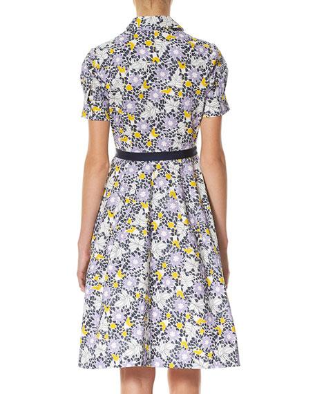 Daisy-Print Short-Sleeve Shirtdress, White Pattern