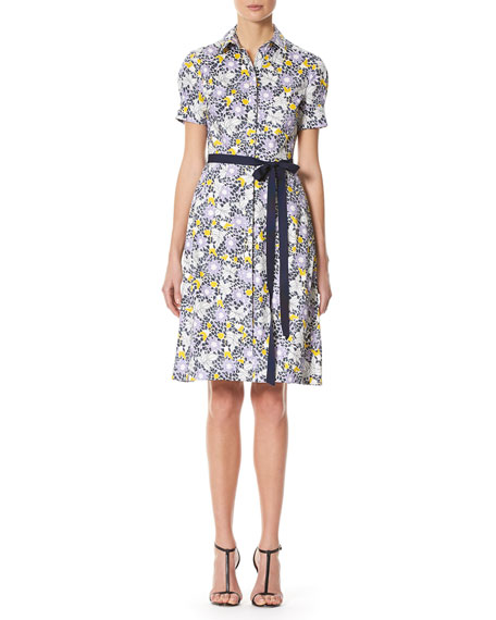 Daisy-Print Short-Sleeve Shirtdress, White Pattern