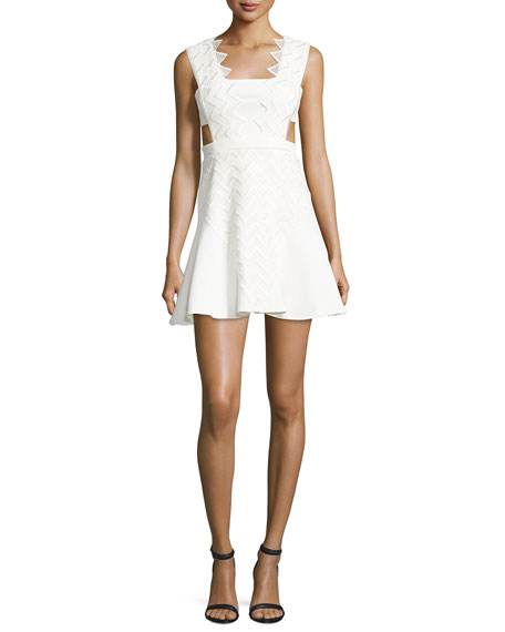 Macrame Cady Fit-and-Flare Dress, White