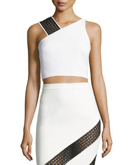 Crocheted Lace-Strap Crop Top, White/Black