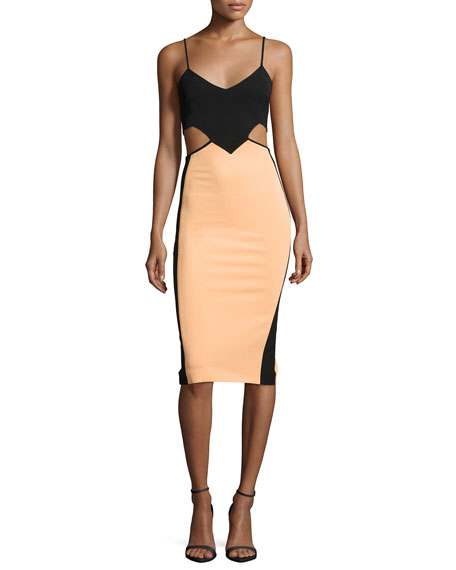 Cutout Colorblock Fitted Dress, Black/Peach