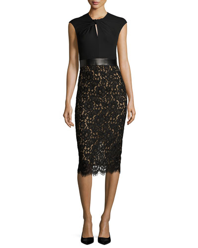 Lace & Jersey Cocktail Sheath Dress, Black