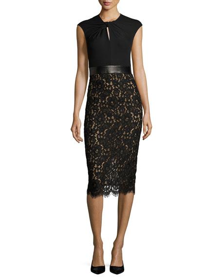 Lace & Jersey Cocktail Sheath Dress, Black