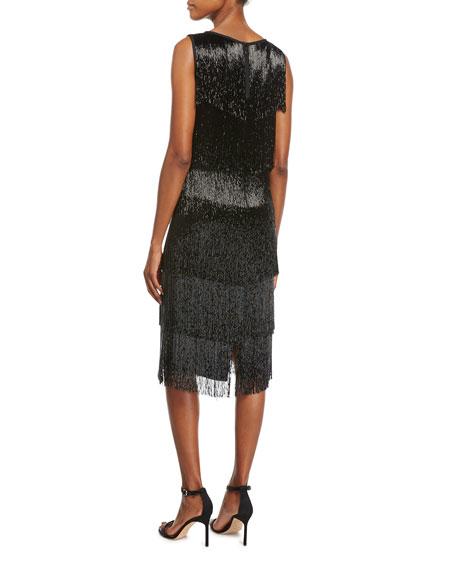 b0af4844d6c Michael Kors Collection Beaded-Fringe Sleeveless Cocktail Dress