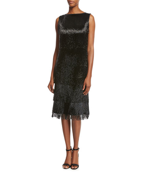 Beaded-Fringe Sleeveless Cocktail Dress, Black