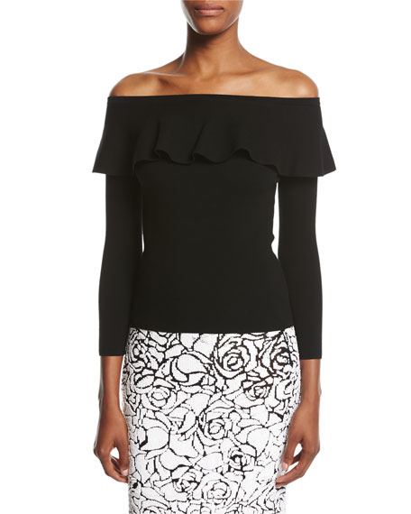 Ruffled Off-the-Shoulder Sweater, Black