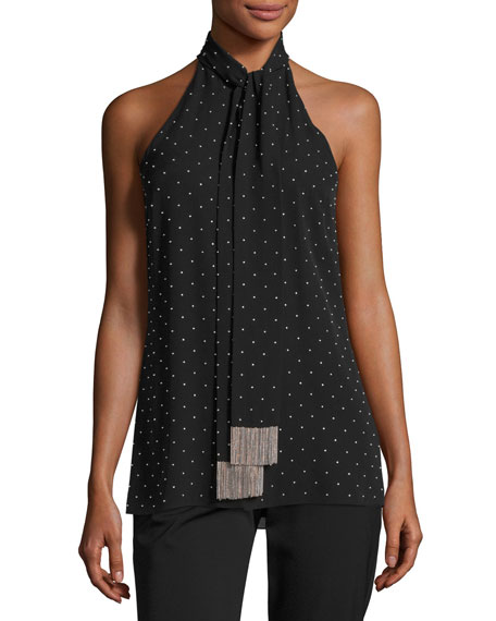 Beaded Silk Sleeveless Tie-Neck Top, Black/Silver