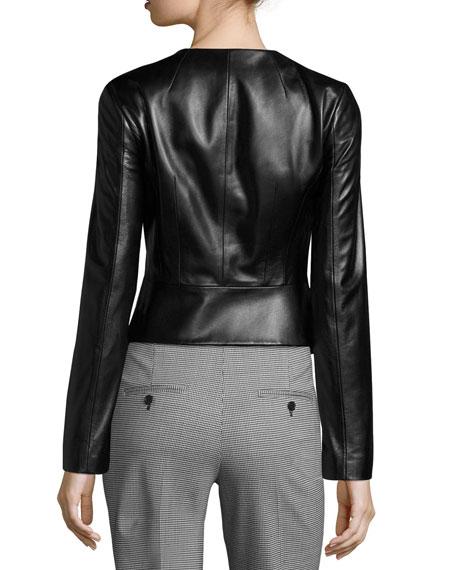Modern Leather Peplum Jacket, Black