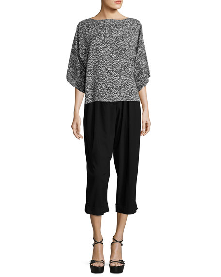 Cropped Pleat-Front Virgin Wool Carrot Pants, Black
