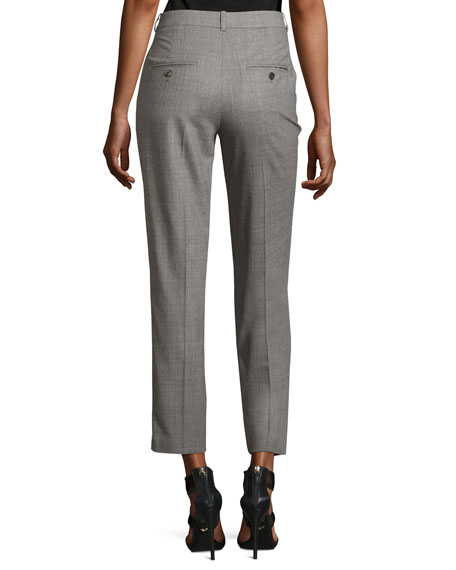 Sam Cropped Stretch-Wool Pants, Gray