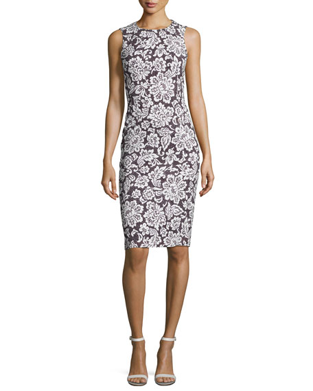 Floral Sleeveless Sheath Dress, Black/White