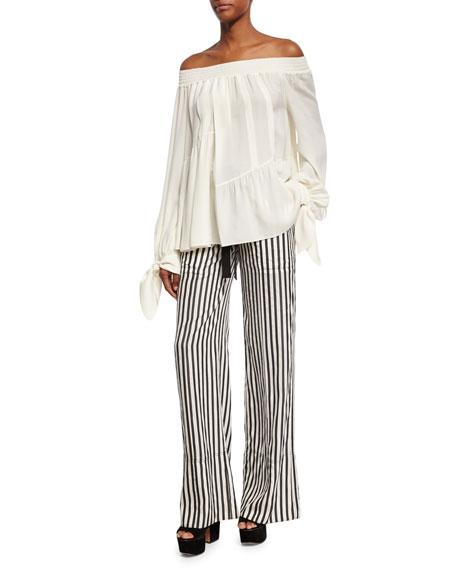 Striped Tie-Waist Silk Pajama Pants, Black/White