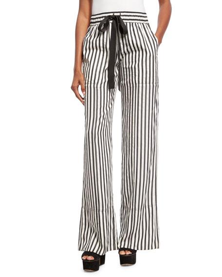 Derek Lam Striped Tie-Waist Silk Pajama Pants 9fb6e7228