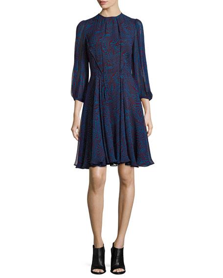 Abstract-Print Chiffon Dress, Red Pattern