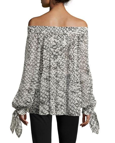 Printed Silk Off-Shoulder Top, White/Black