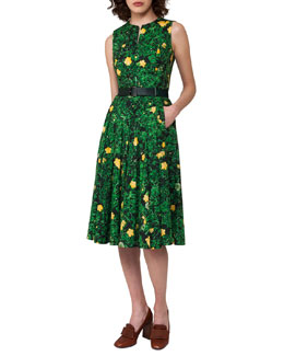 Buttercup Floral-Print Belted A-Line Dress, Forest