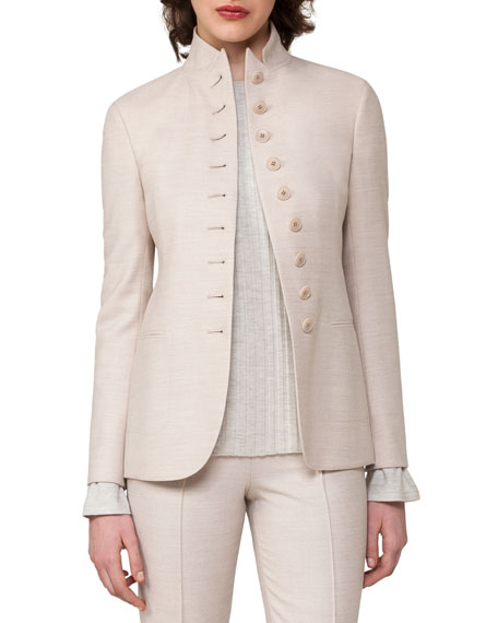 Akris Button-Front Notch-Collar Jacket, Gray