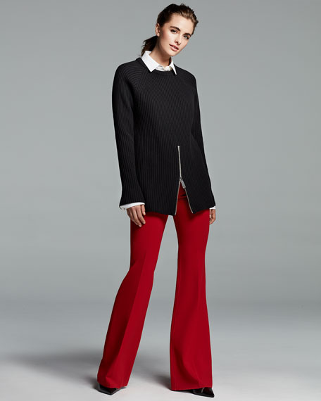 Wool-Crepe Side-Zip Pants, Crimson