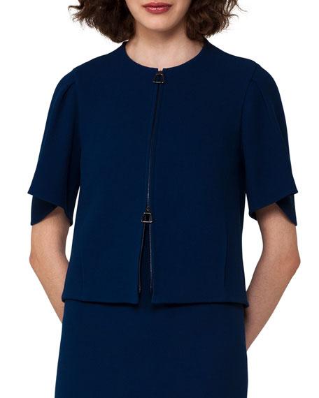 Double-Face Crepe Jacket, Blue
