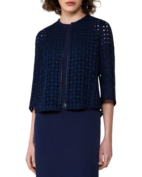 Grid-Pattern Zip-Front Jacket, Dark Blue