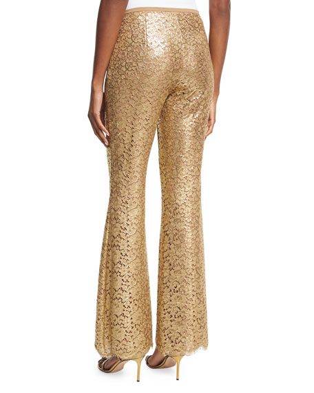 Metallic Floral Lace Pants, Gold