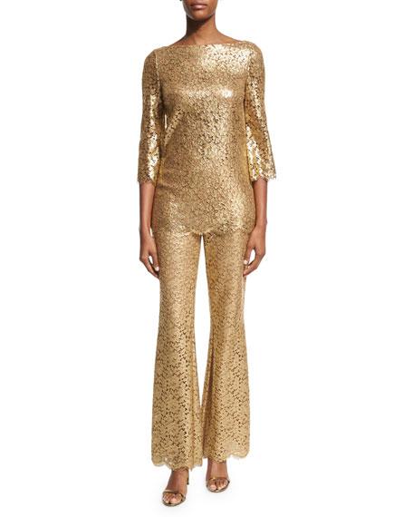 Metallic Floral Lace Pants, Gold