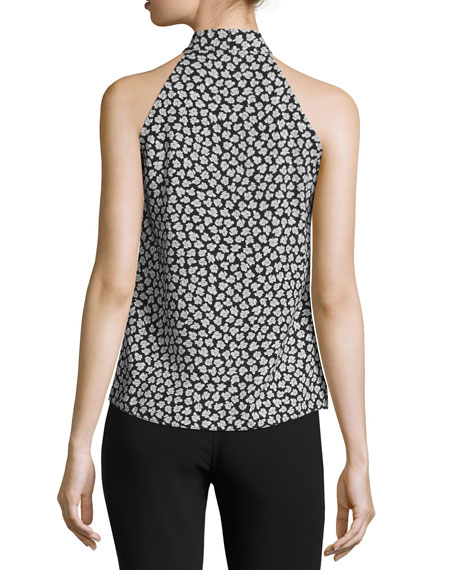 Floral-Print Georgette Halter Top, Black/White