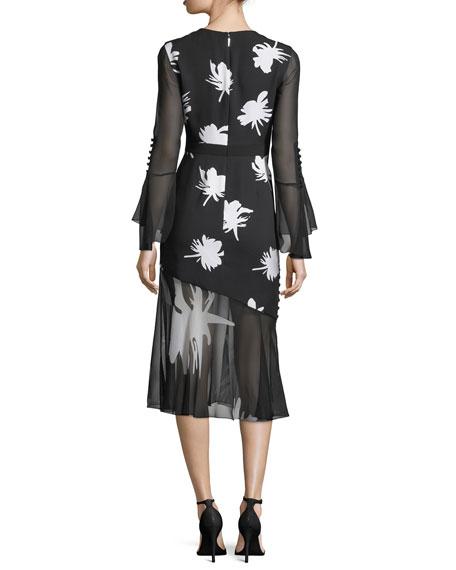 Floral-Print Long-Sleeve Midi Cocktail Dress
