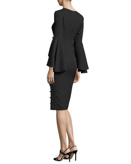 Asymmetric Ruffle-Sleeve Dress