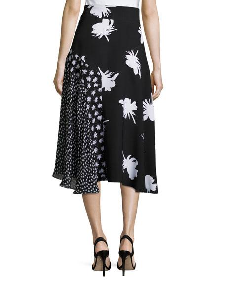 Patchwork Floral-Print Midi Skirt