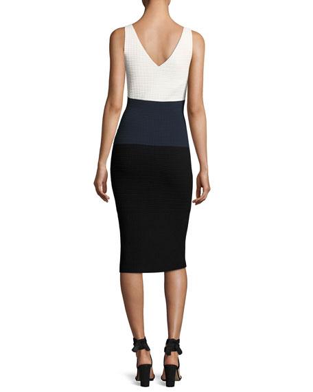Sleeveless Colorblock Waffle-Knit Dress, White Pattern