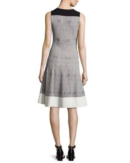 Sleeveless Geometric Tweed Dress