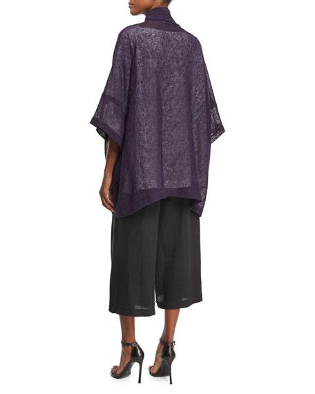 Mesh-Knit Half-Sleeve Jacket, Purple