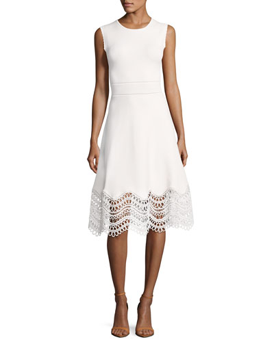 Sleeveless Lace-Hem Dress