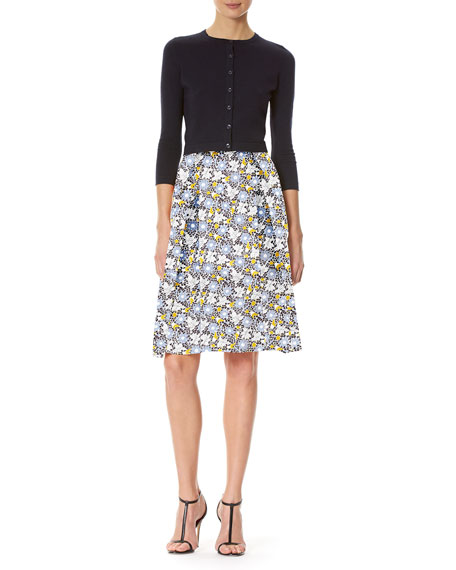 Daisy-Print A-Line Skirt, White Pattern
