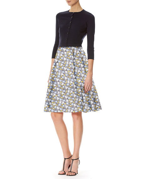 Daisy-Print A-Line Skirt, White Pattern