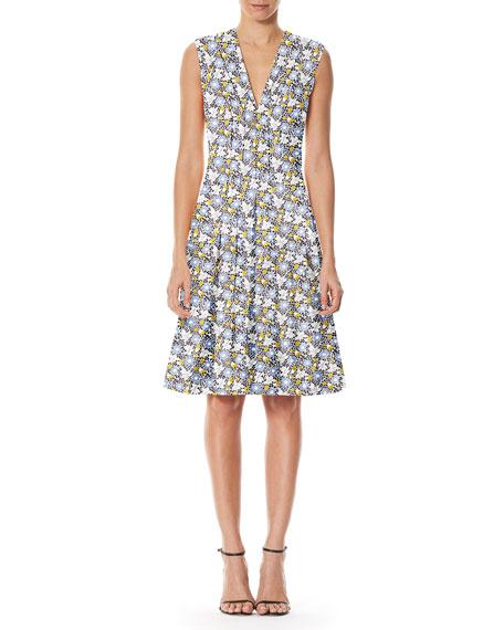 Sleeveless Daisy-Print Day Dress, White Pattern